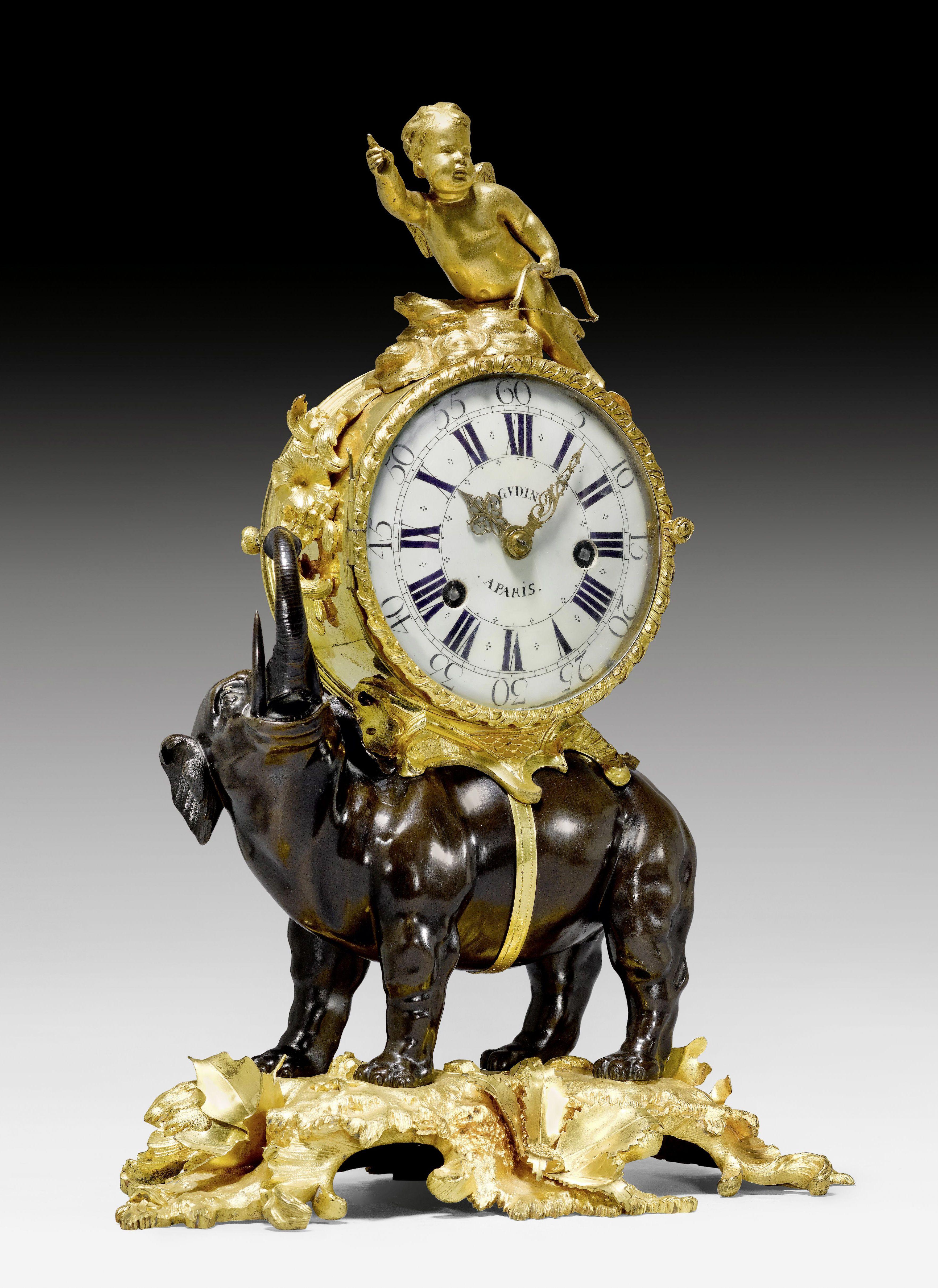 "KAMINPENDULE ""A L'ELEPHANT"", Louis XV, das Modell aus einer"