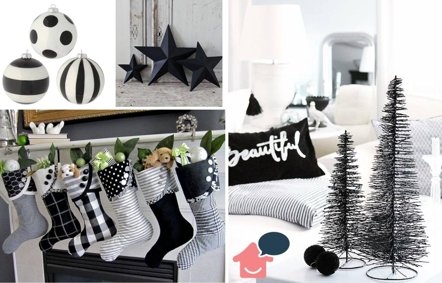 decoração de natal diferente branco e preto