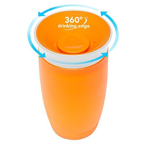 2 Count New 10 Ounce Pink//Orange Munchkin Miracle 360 Sippy Cup