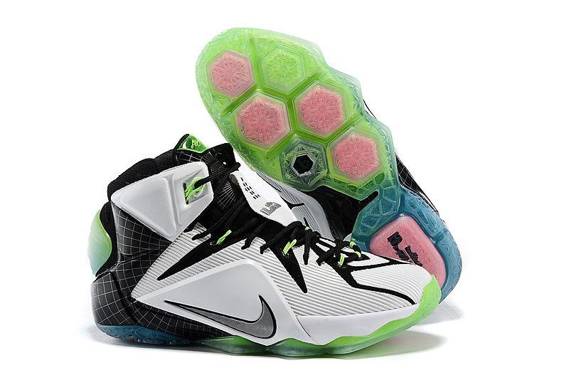 Cheap Nike LeBron 12 All-Star Basketball Shoes Black White Green on sale