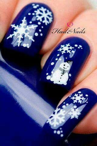 Manicura Navidena Snow Azul Manicure En 2019 Pinterest