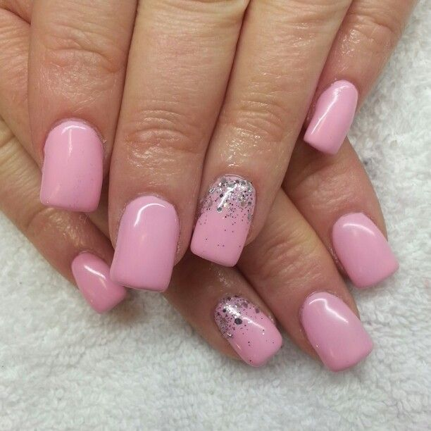 Acrylic nails with baby pink shellac and silver glitter. Instagram ...