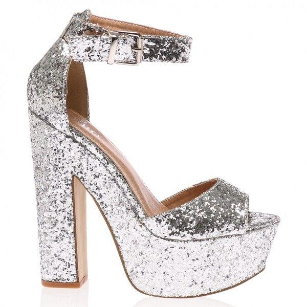f25d9f1b3aa510 Brandi Silver Glitter Platform High Heel Sandals ( 35) ❤ liked on Polyvore  featuring shoes