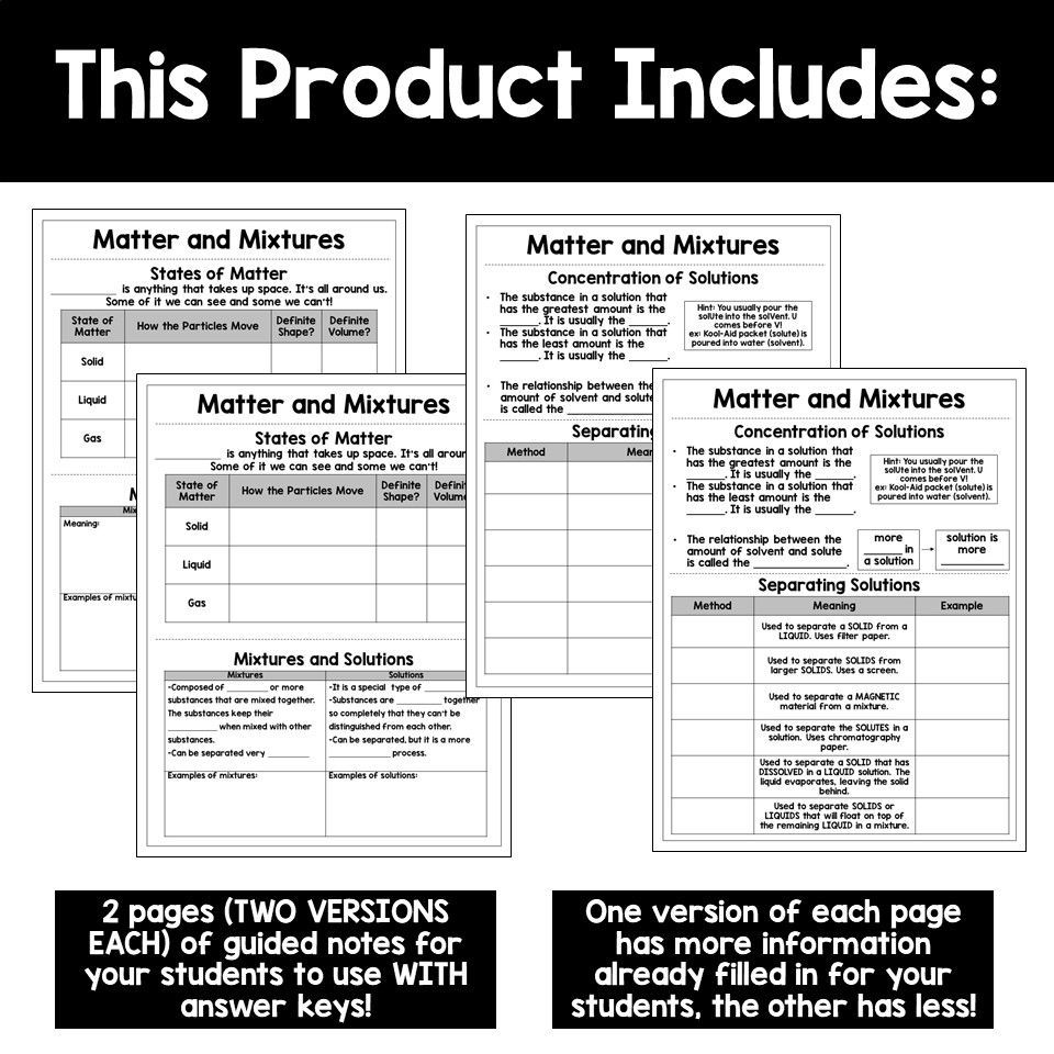Matter And Mixtures Guided Science Notes Science Notes Science Guided Notes [ 960 x 960 Pixel ]