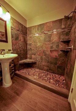 Rustic Bathroom Showers river rock shower floor bathroom remodel rustic bathroom