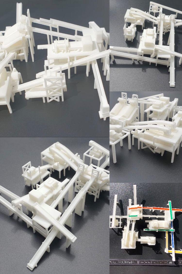 Fabrikmodell 3D-Druck Modell im SLS Verfahren, sehr filigran und Wandstärken bis 0,5mm möglich  Druckverfahren: SLS