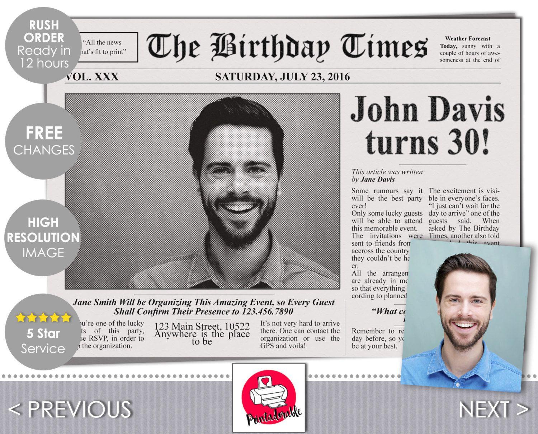 newspaper invitation the birthday