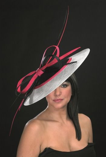 b8366c8346e1f pink whit black church hat with big bow detail Occasion Hats