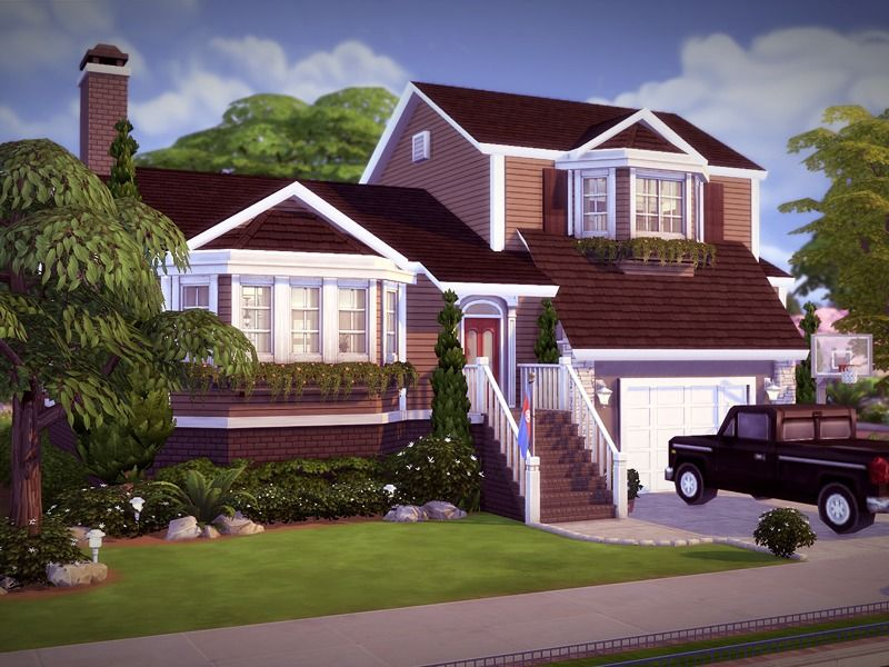 Comfortable Split Level Home Featuring 3 Bedrooms 2 5 Baths Kitchen Separate Dining Beautiful Living Sims House Design Sims 4 House Design Sims House Plans