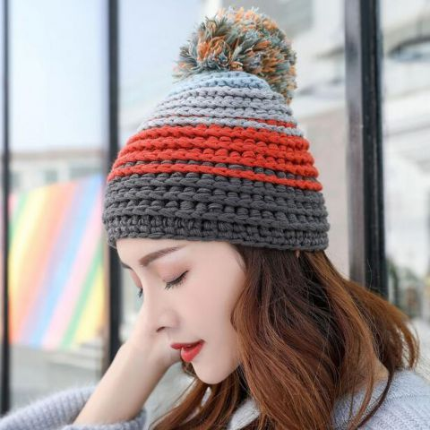 bc03aec8410 Red and gray striped bobble hat for women knit beanie hats with ball on top