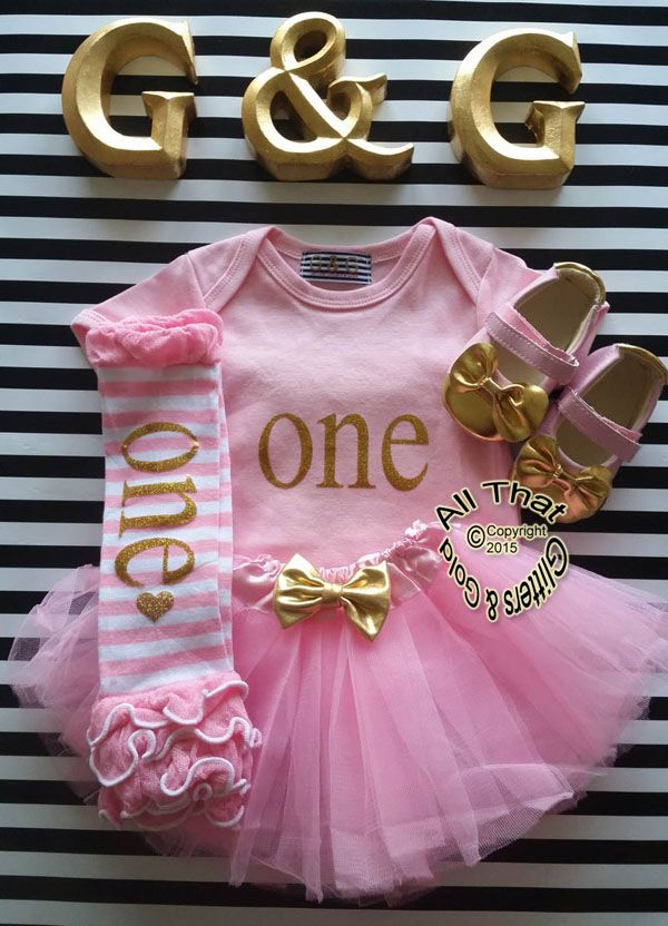 effaaf1f4e442 Pink Gold One First Birthday Outfit With Pink Tutu Skirt | Cute ...