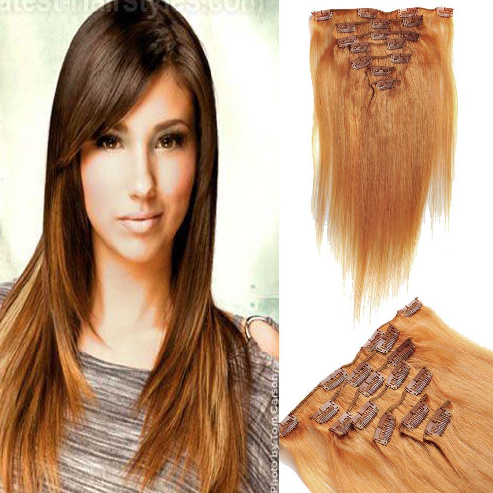Biding7pcs Clips Long 20 Human Hair Extensions 70g Color 18