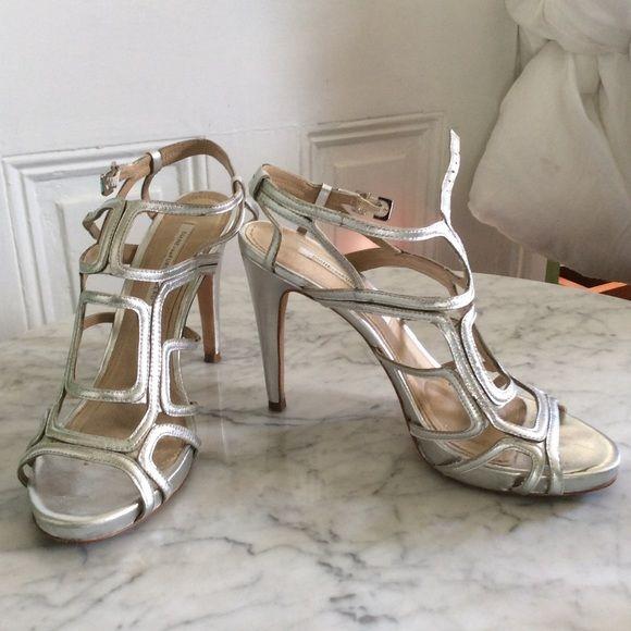 """Diane Von Furstenberg SEXY  Cut Out Design sandals Diane Von Furstenberg SEXY Silver Leather Cut Out Design 8.5 M EUC 4 """" heel. Diane von Furstenberg Shoes Heels"""