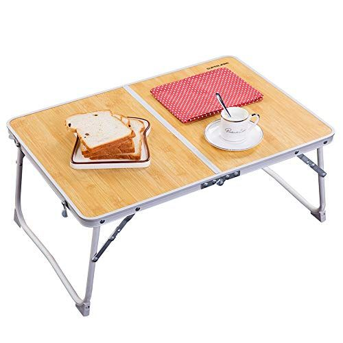 Foldable Laptop Table Superjare Bed Desk Breakfast Serving Bed Tray Portable Mini Picnic Table Ultra Lightweight In 2020 Bed Tray Wooden Picnic Tables Laptop Table