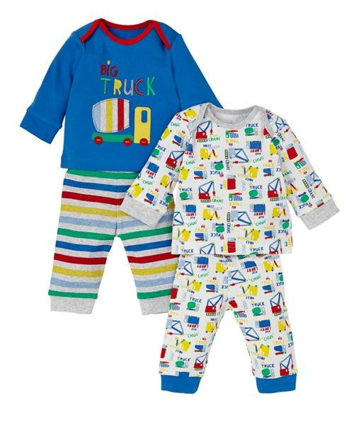 Mothercare Pijama 2pk Tractor Azulon Bebe Nino Inv 2014 Moda