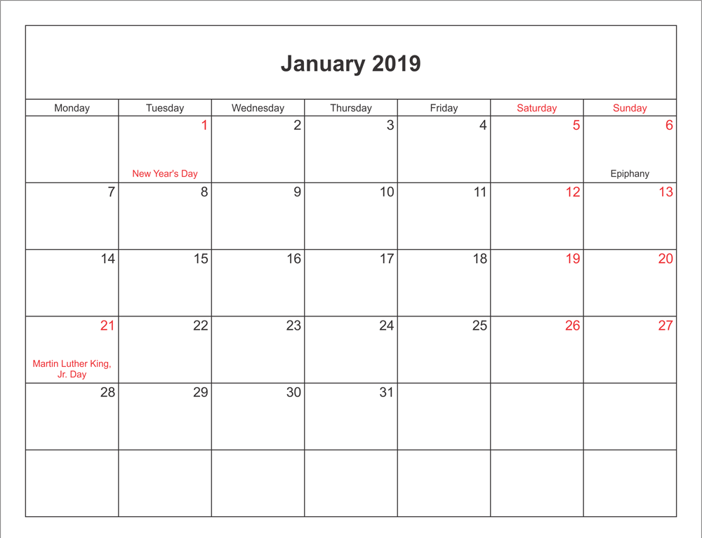 Printable January 2019 Google Template 2019 Calendars Pinterest