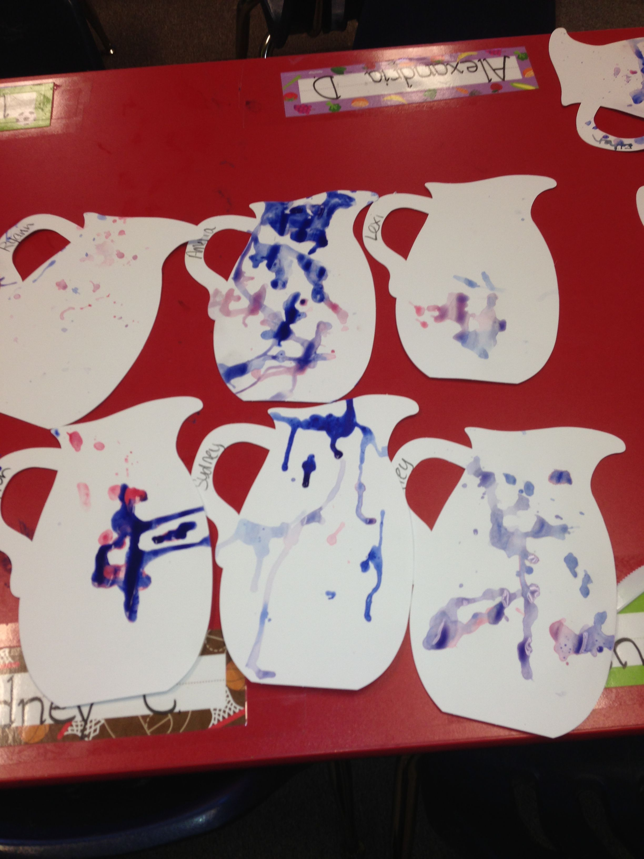 Water pitchers we painted with eye droppers and paint. #littlehandsbigplans