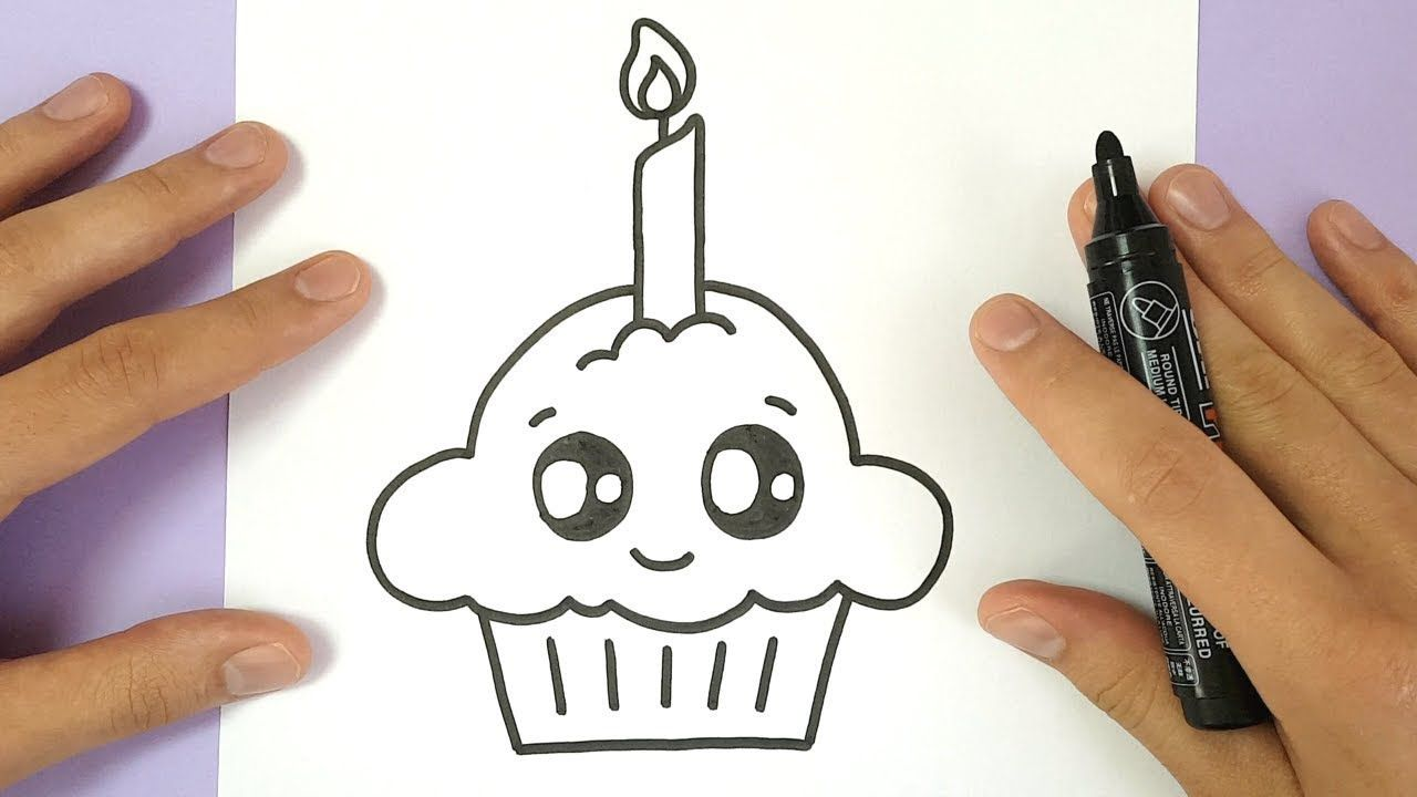 How To Draw A Cute Birthday Cupcake Easy Cupcake Drawing Happy Birthday Drawings Easy Drawings