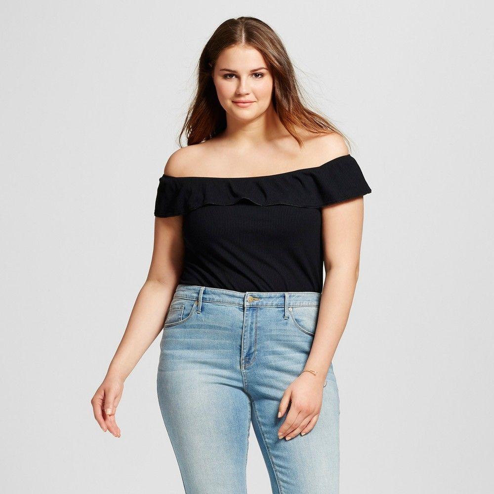 Who What Wear, Women's Plus Size Bardot Bodysuit  Black 1X