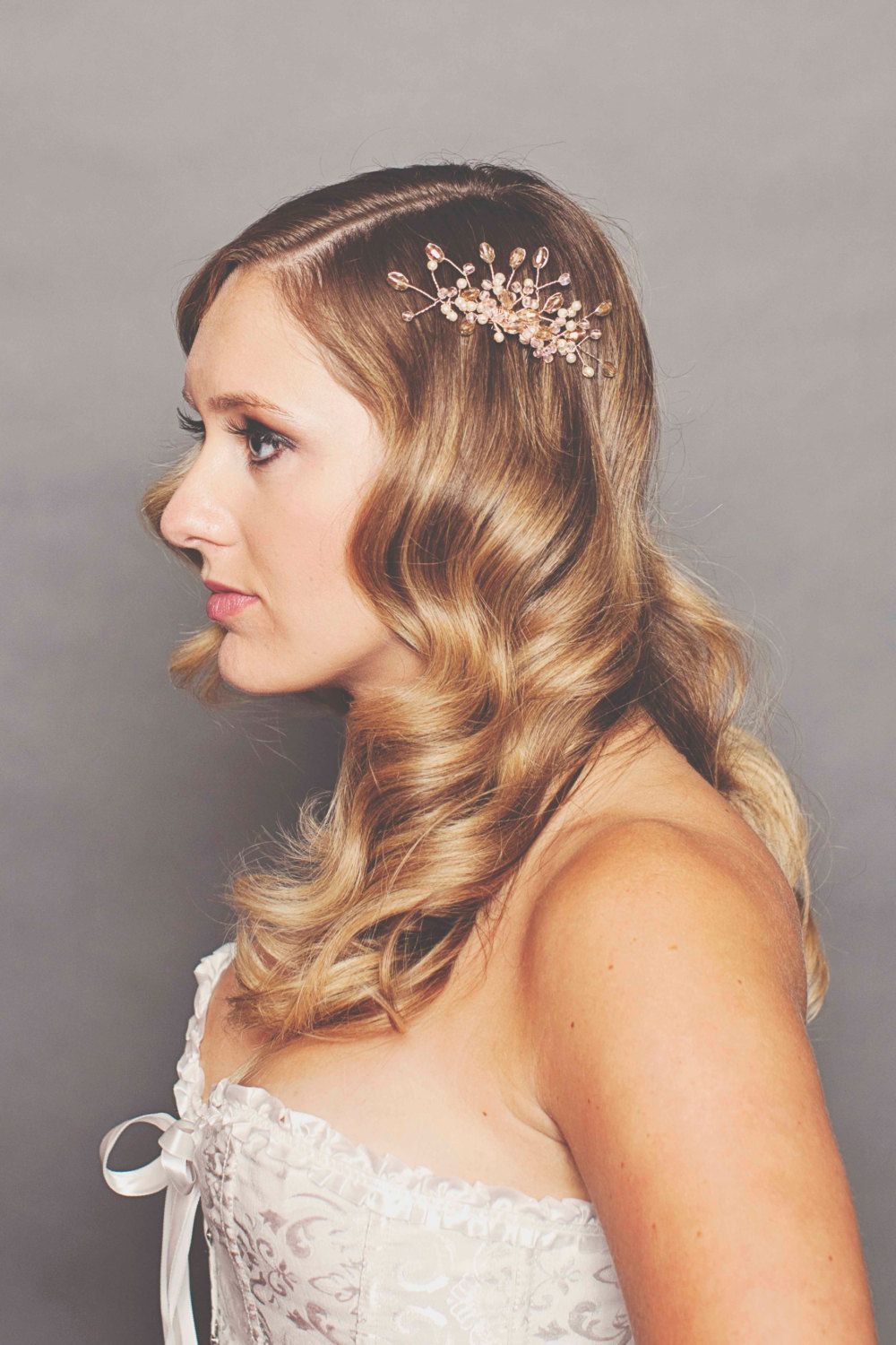 rose gold crystal wedding hair clip with old hollywood loose