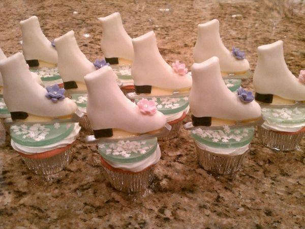 Ice skate cupcakes