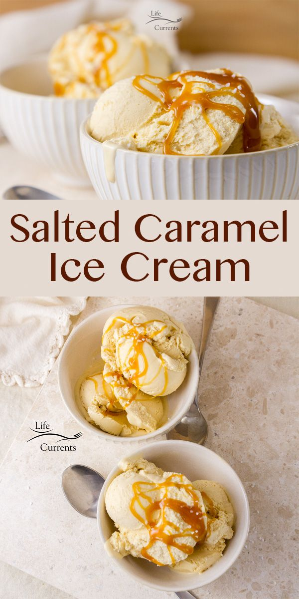 Homemade Salted Caramel Ice Cream or frozen custard #homemadeicecream