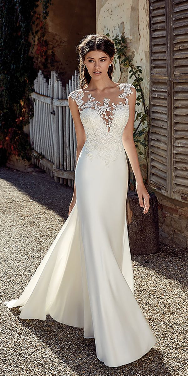 [228.50] Modest Satin Bateau Neckline Mermaid Wedding Dresses With Lace Appliques - magbridal.com.cn