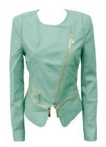 mint green pvc biker jacket £40