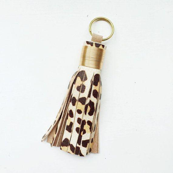 Cheetah Initial Keychains wTassel