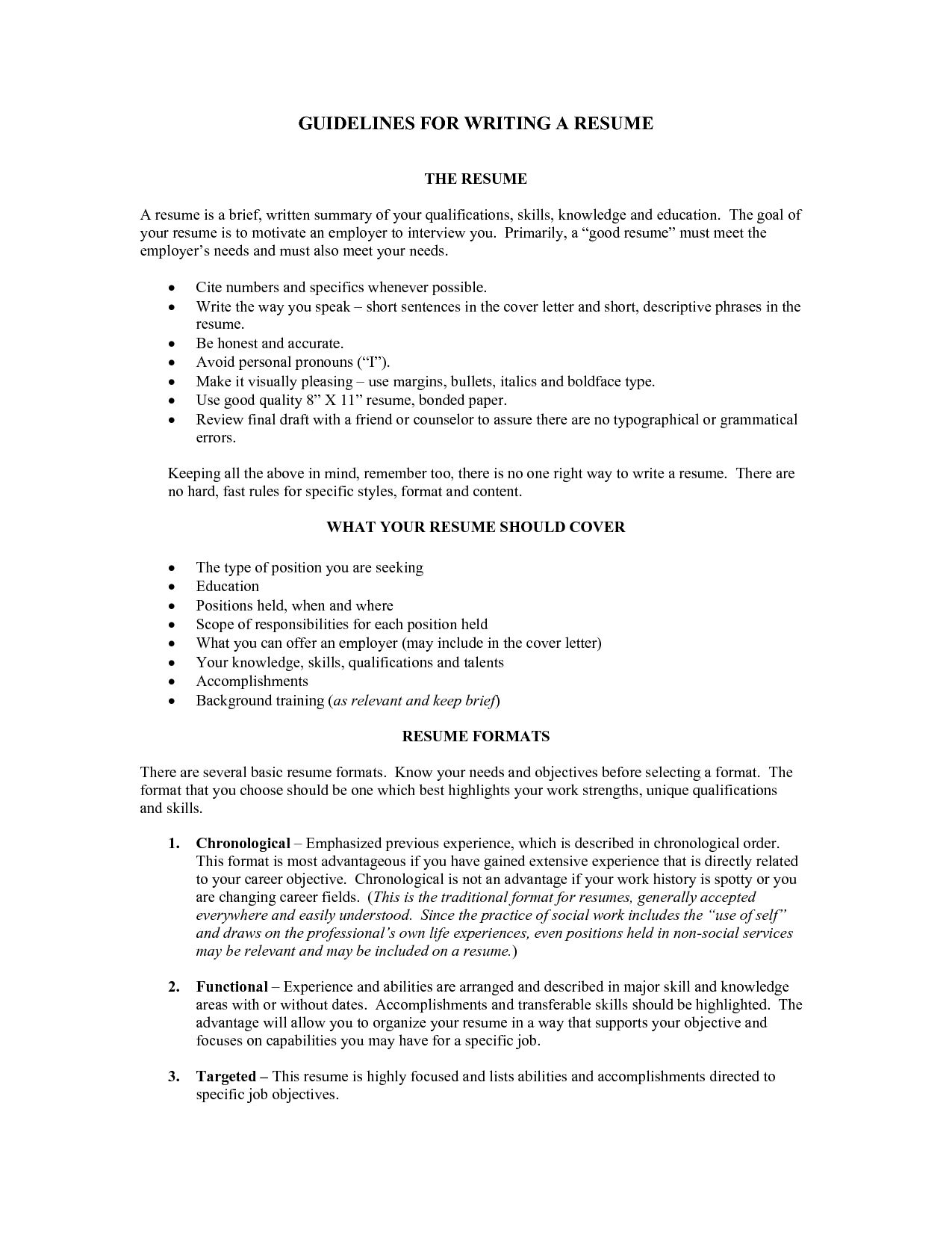Resume Guidelines Letters Free Sample Letters Great