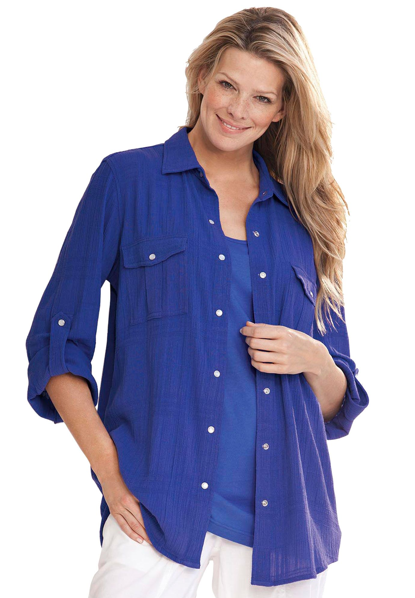 This Classic Woman Within Top In Cotton Gauze With Big