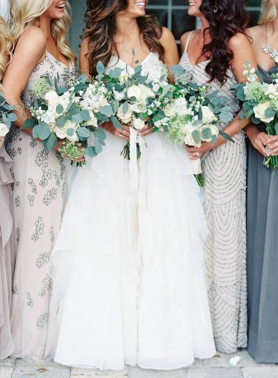 Elegant Wedding Dresses Pick Up These Ideas For A Exciting Event Weddingdresseswithsl Sparkly Bridesmaid Dress Bridesmaid Bouquet White White Bridal Bouquet