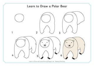 how to draw a polar bear step by step easy