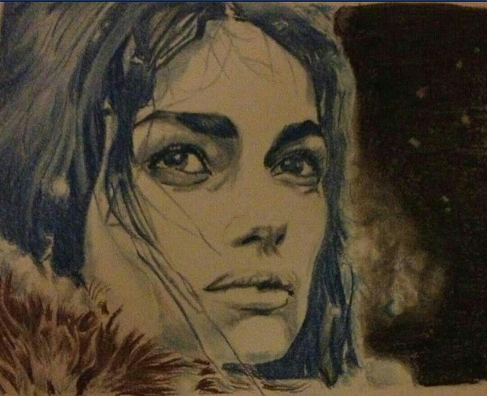 Woman in snow coloured pencil sketch