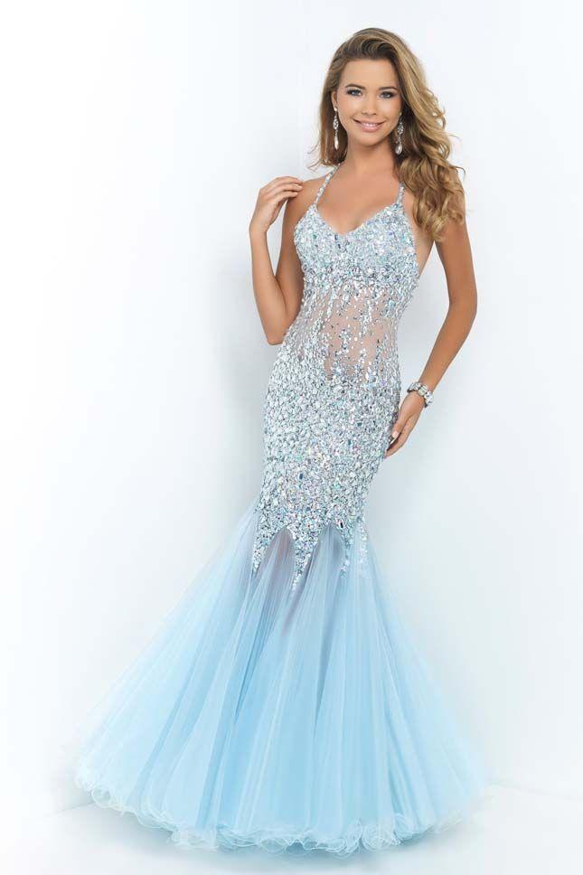 Sexy Ice Blue Beaded Illusion Bodice Blush 9702 Long Prom Dress ...