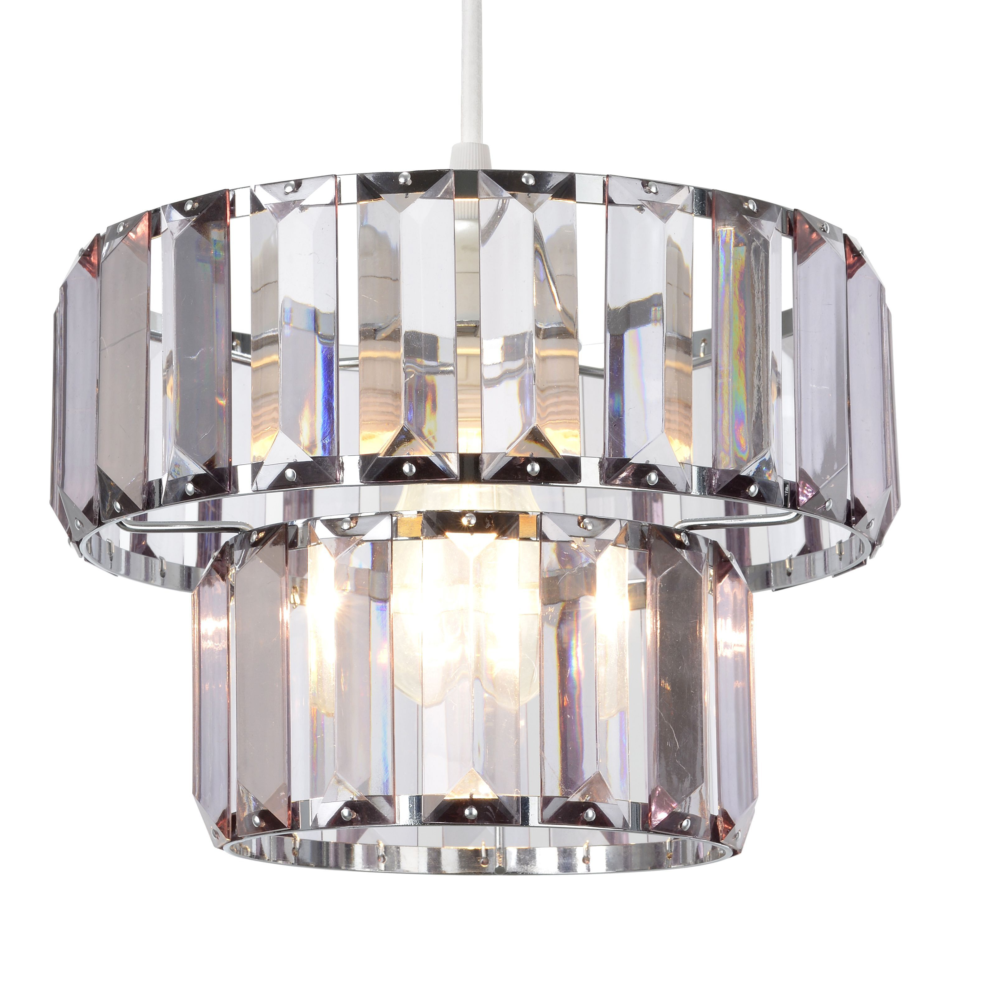 Colours Bayano Smoke Carved Crystal Effect Light Shade (D)220mm ...