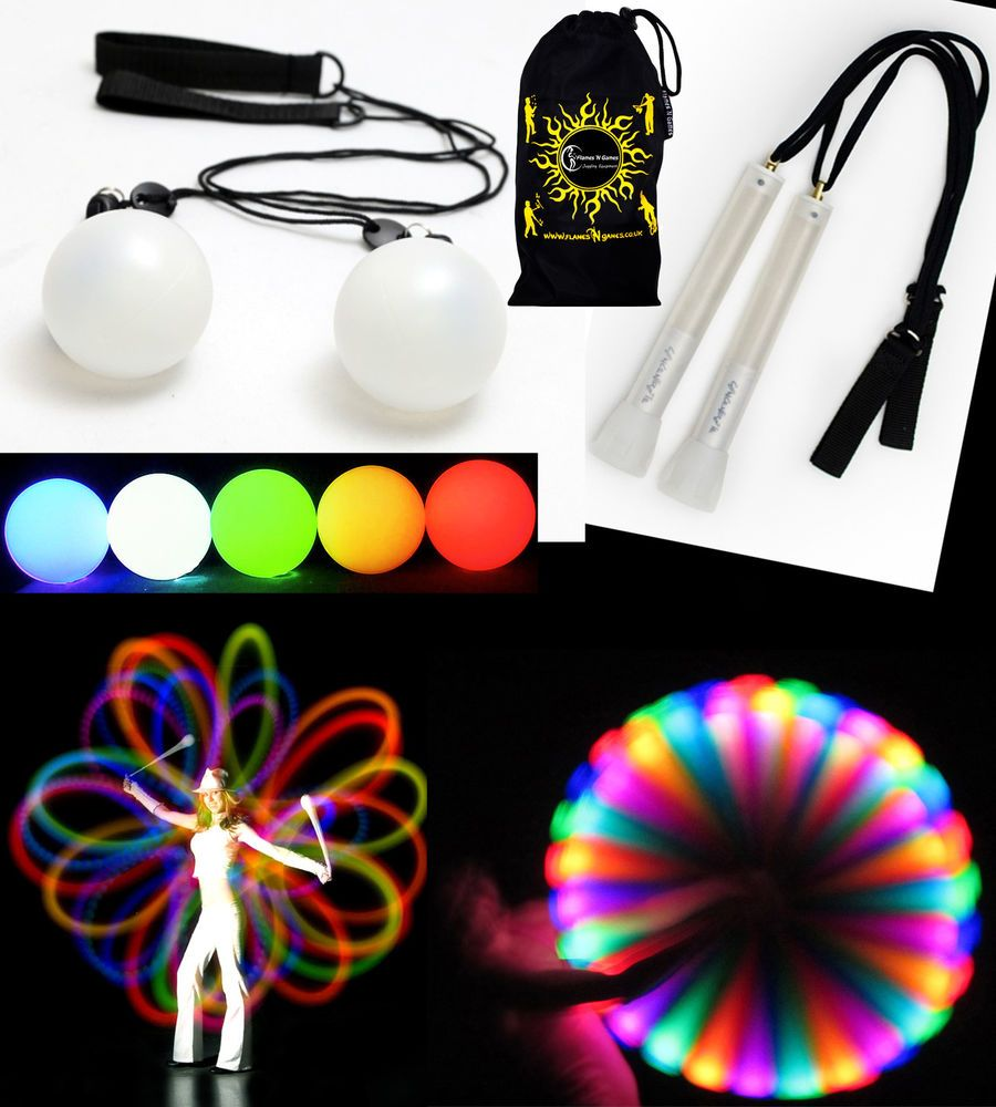 Light up Practice Glow Poi Spinning NEW DE^ LED Glow Poi Sets
