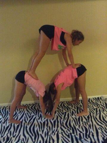 easy acro stunt for 3 people  yoga challenge poses