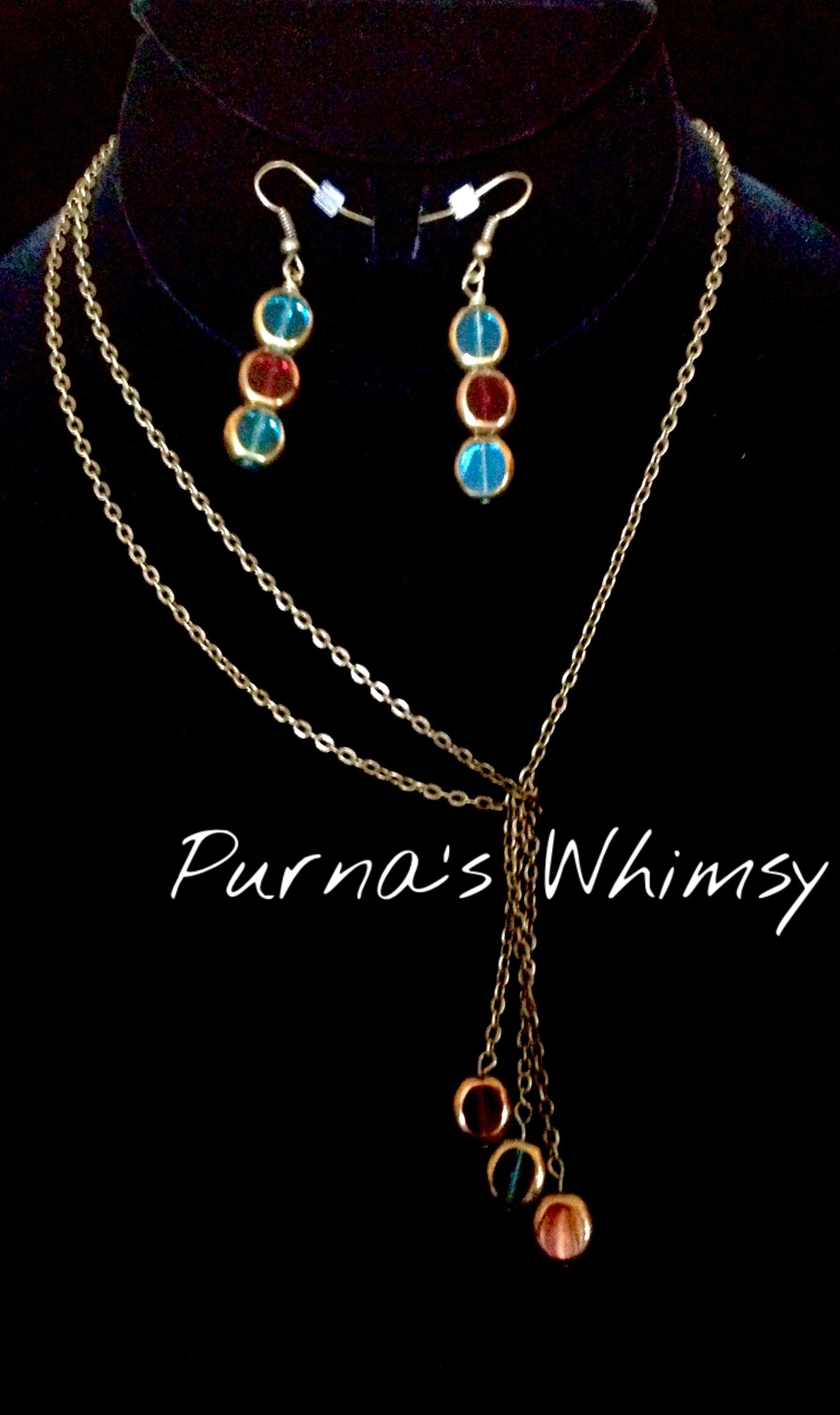 Bronze Lariat Necklace with Blue and Red Window Glass