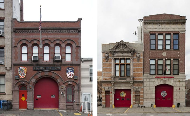 NYC, LANDMARKS PRESERVATION COMMISSION DESIGNATES FIVE HISTORIC FIREHOUSES- Engine Co. 228 in Sunset Park, Brooklyn (left) Engine Co. 73/Hook & Ladder 42 in Longwood, Bronx (right) #architecture #newyork