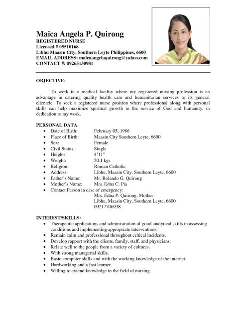 sample resume for international nurses