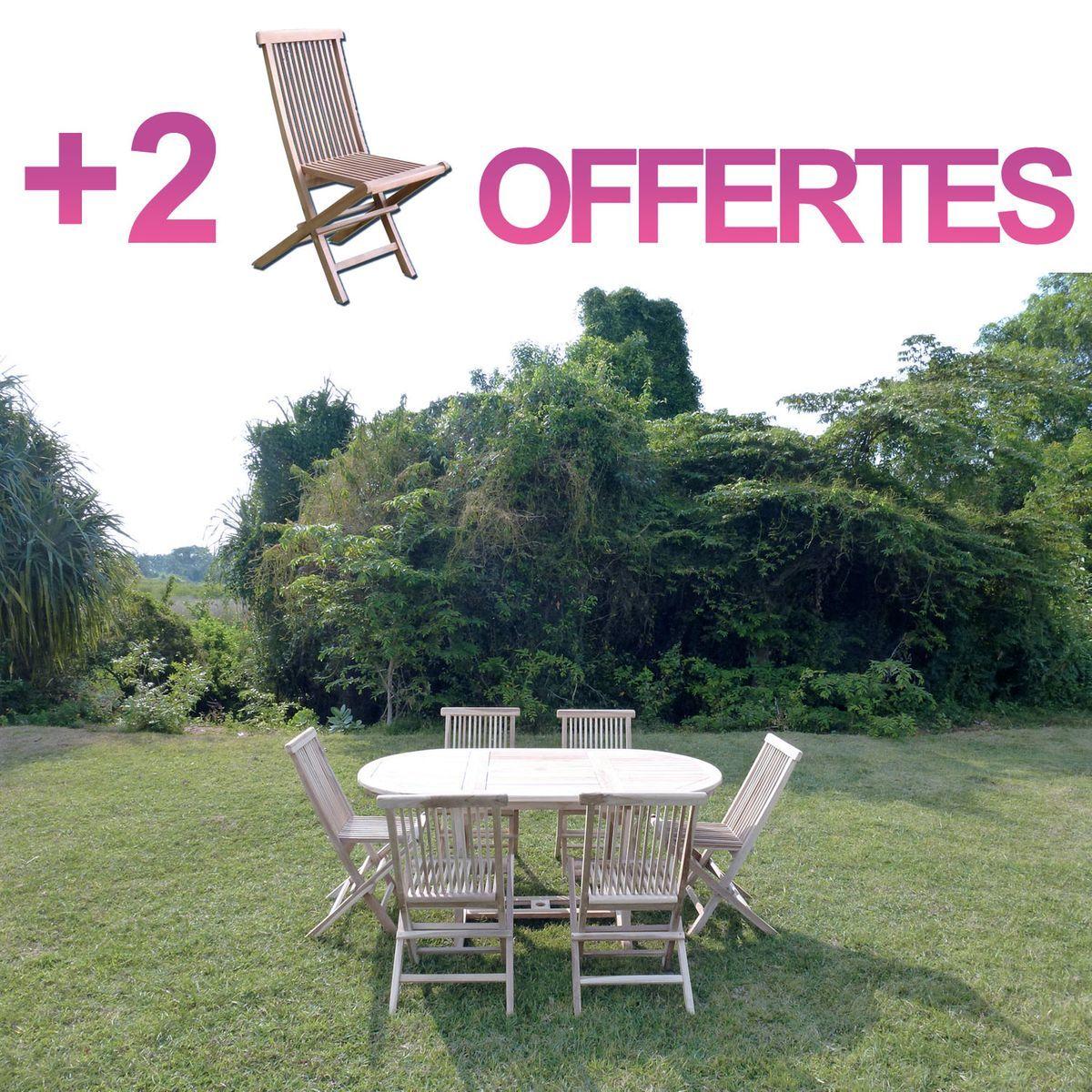 Ensemble Salon De Jardin En Teck Solo 6 Chaises + Bundle 2 ...