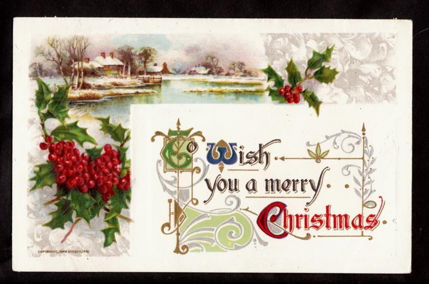 1910 Winsch Holly Country Snow Scene Christmas Postcard | eBay