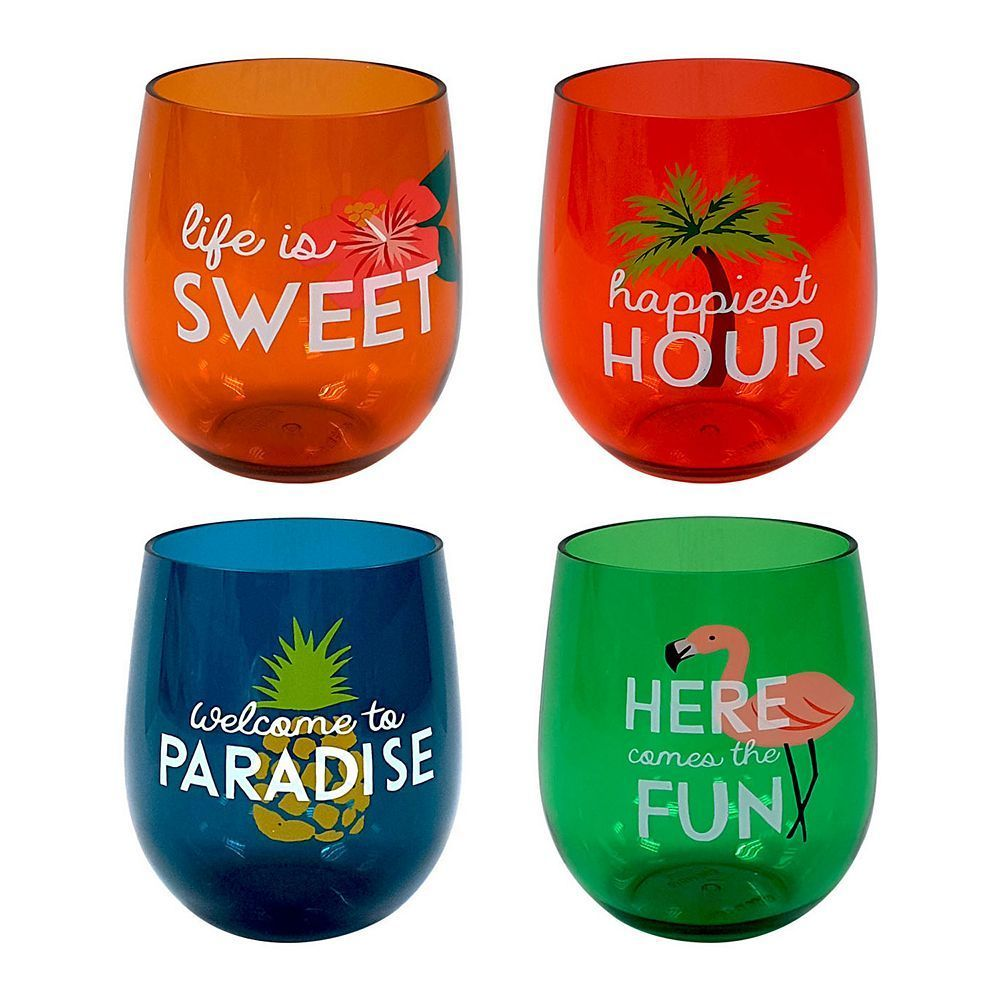 Celebrate Summer Together 4 Pc Havana Stemless Acrylic Wine Glass Set Wine Glass Set Wine Glass Stemless Wine Glass