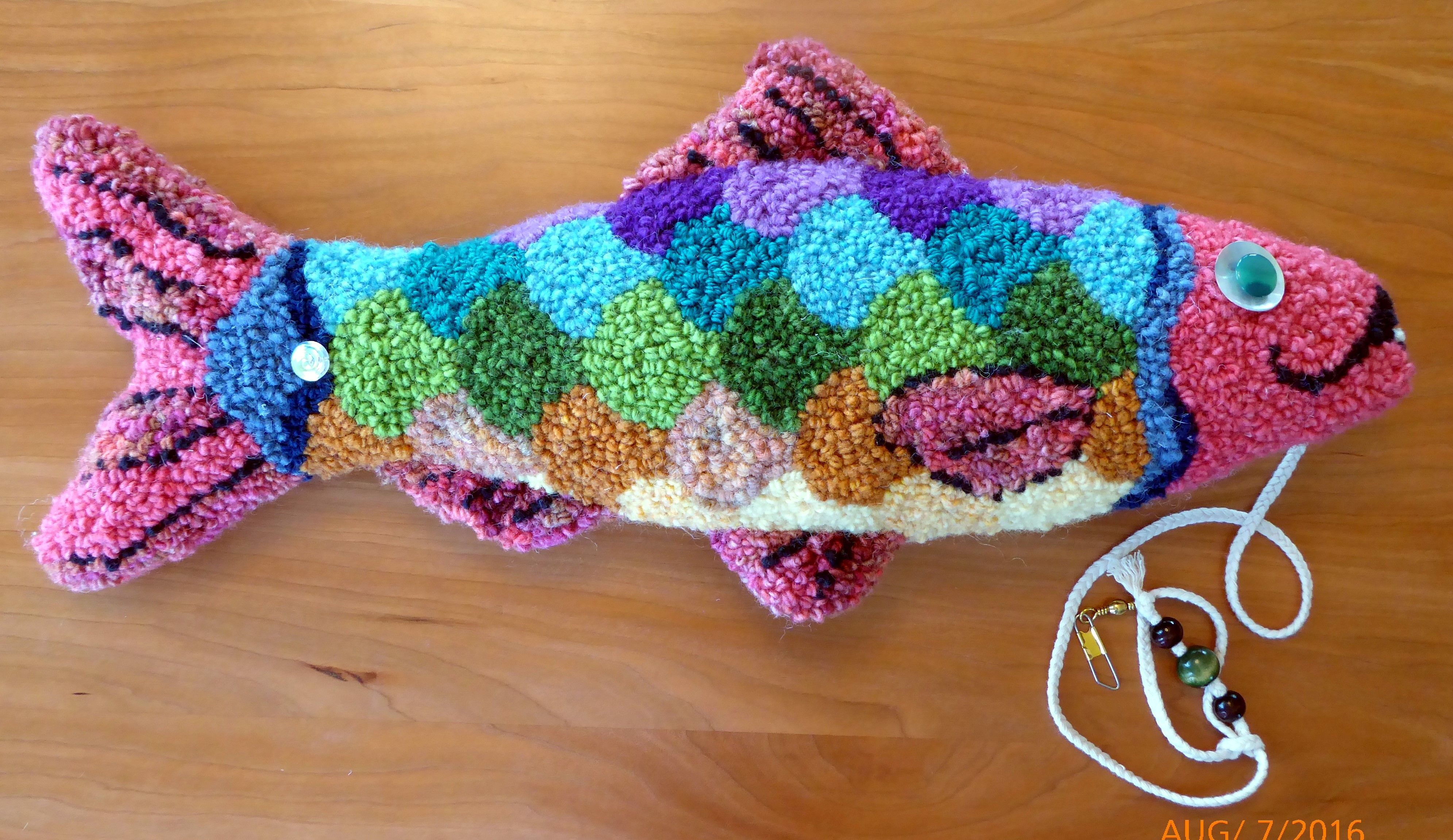 Hand Hooked Ali Alewife Fish Sculpture By Susan Ferraro Rug Hooking Patterns Rug Hooking Designs Punch Needle Embroidery