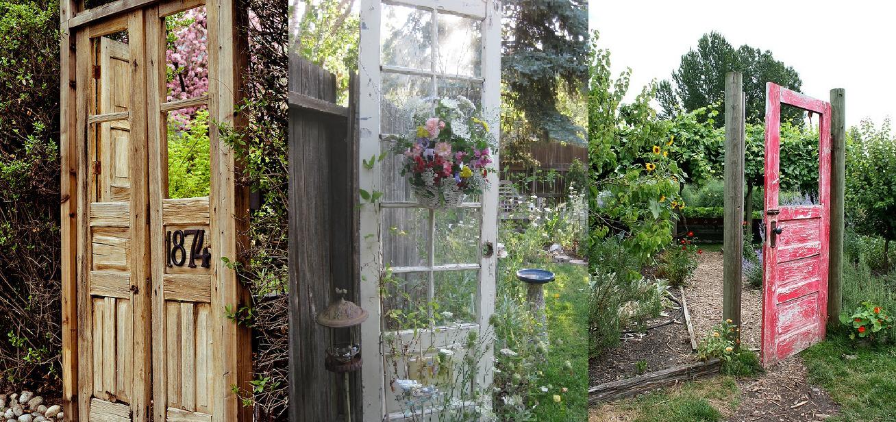 Decora el jard n con puertas viejas decoracion casas for Puertas interiores antiguas madera