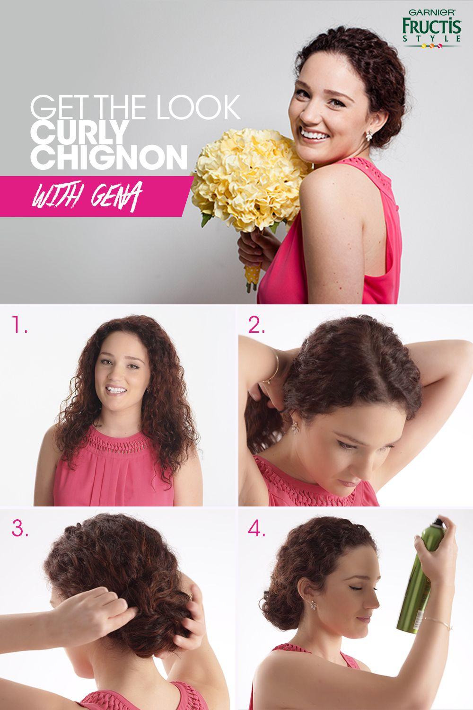 Curly chignon first wash hair with garnier fructis full u plush