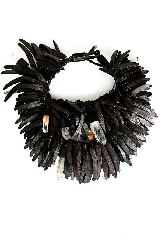 Monies Coconut Shell and Mountain Chrystal Necklace