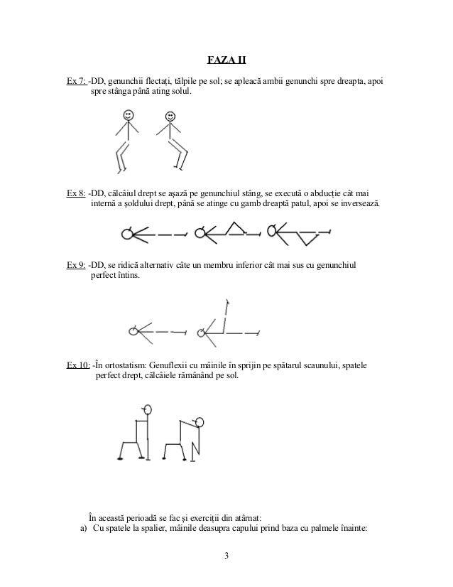 FAZA II Ex 7: -DD, genunchii flectaţi, tălpile pe sol; se apleacă ambii genunchi spre dreapta, apoi spre stânga până ating...