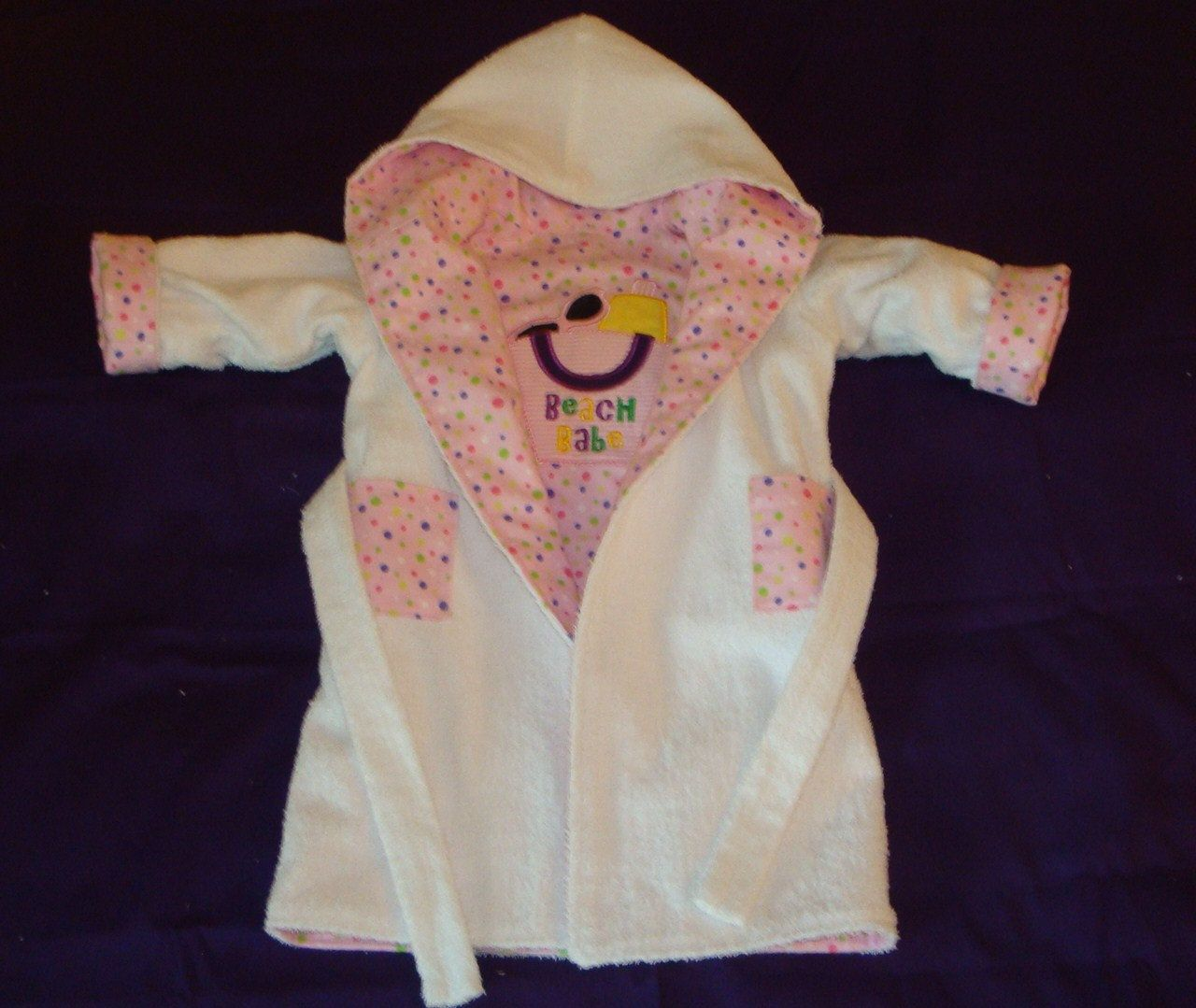 Reversible Pink Girl's Beach / Bath Robe Size 18 to 24 Months.  Getting out the sewing machine again.  Love making these!